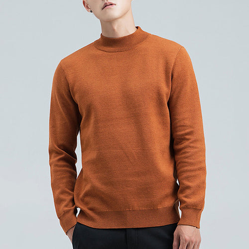 Pure Color Knitting With High Collar Men's Sweater