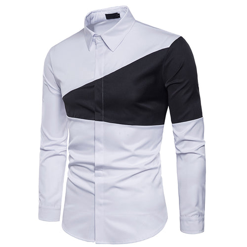 Two-tone triangle stitching fashion with men's lapel long-sleeved shirt