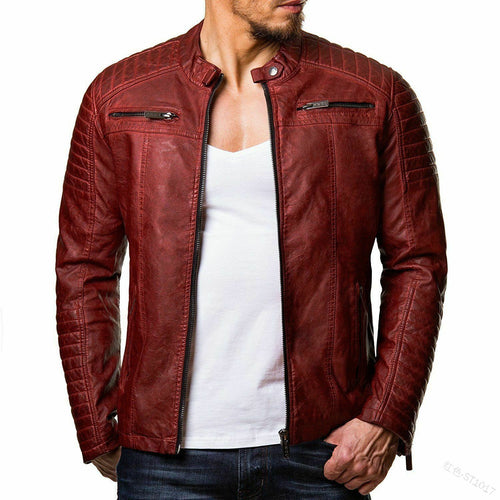 Fashion Men's Stand Collar Zip Stitching Leather Jackets