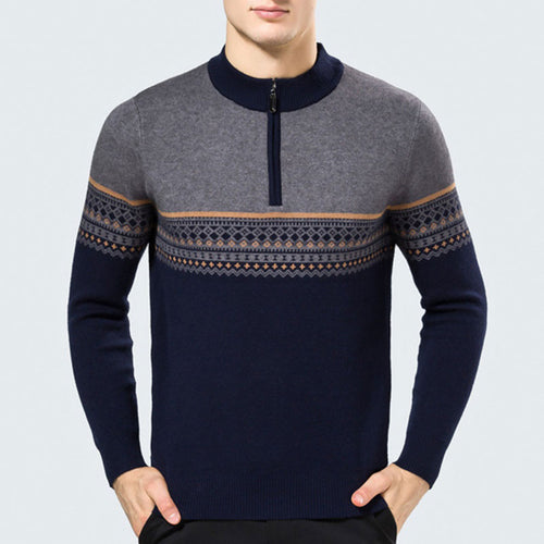 Thickened Semi-high Collar Zipper Men's Sweater