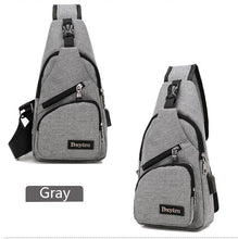 Load image into Gallery viewer, Men's New Canvas Chest Pack Usb Charge Strap Crossbody Bags