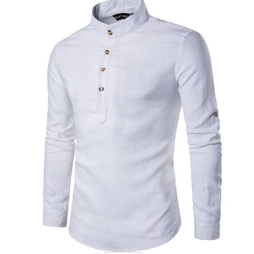 Solid color long-sleeved collar collar linen slim pullover shirt