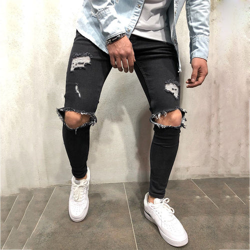 Hole Hollow Elastic Zipper Men's Jeans