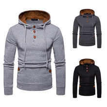 Load image into Gallery viewer, Men's Suede Color Hooded Sweater