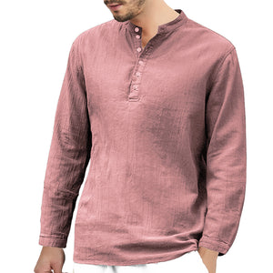 Solid Color Tie Buckle Men's Casual Shirt