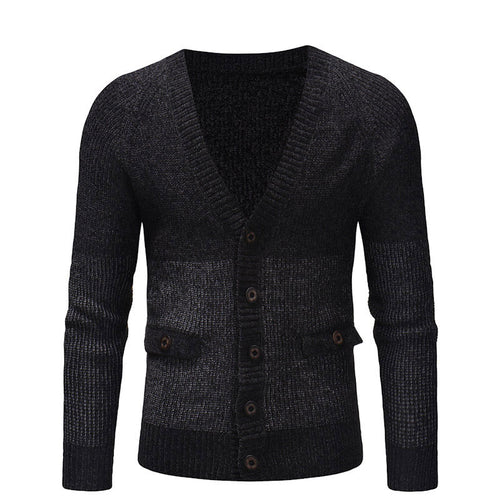 Cotton V-Neck Long Sleeve Pure Color Men's Sweater