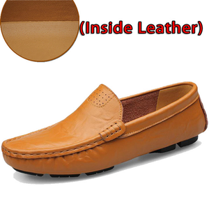 Shoes-Big Size Men Genuine Leather Soft Loafers for Boat Flats Shoes