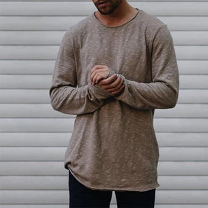 Round neck simple long sleeve bottoming T-shirt