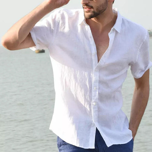 Solid color summer casual men's shirt short sleeve