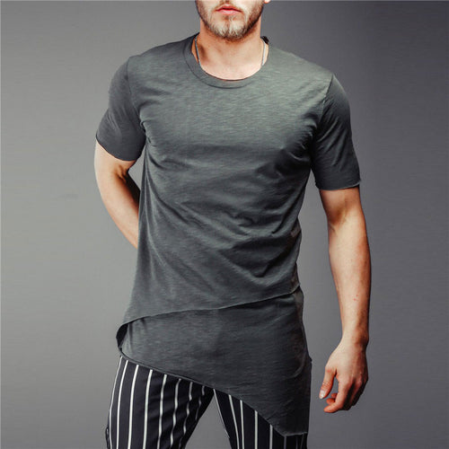 Leisure Irregular Solid Color Men's T-shirt