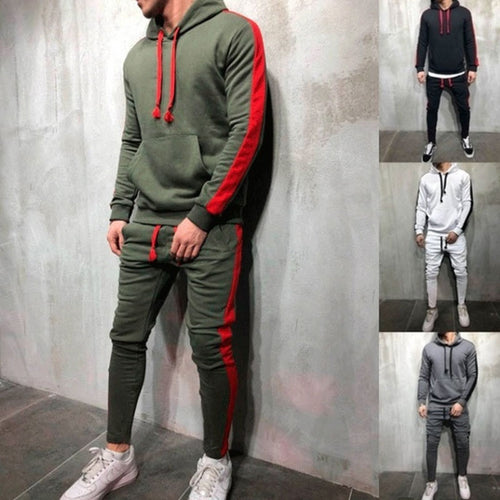 Men's Hooded Strips Solid Color Sports Casual Explosion Sports Suits