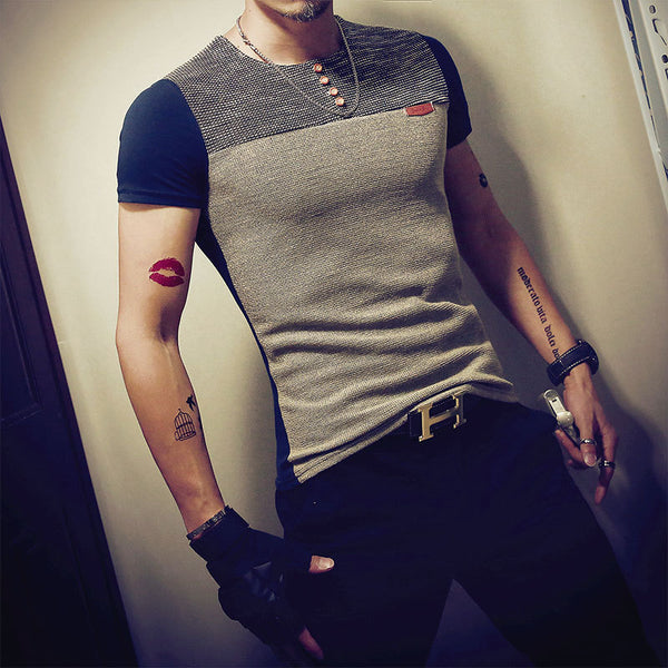Stitching Collar Men's T-shirt