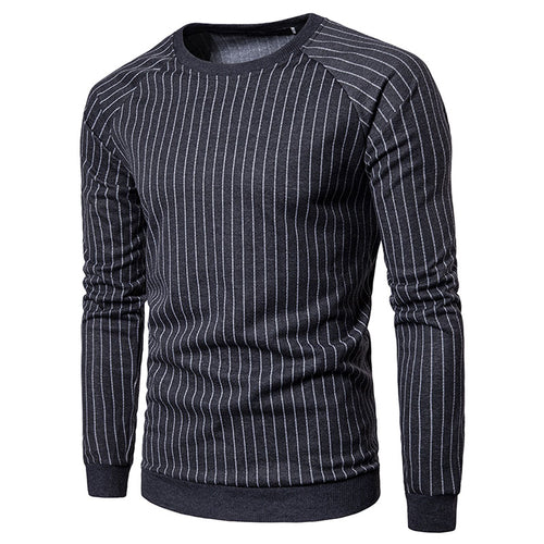 Striped Pullover Long Sleeve Cotton Blends Men's Sweatshirt