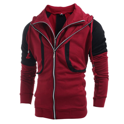 Hooded Cotton Blends Hit Color Casual Men's Hoodies