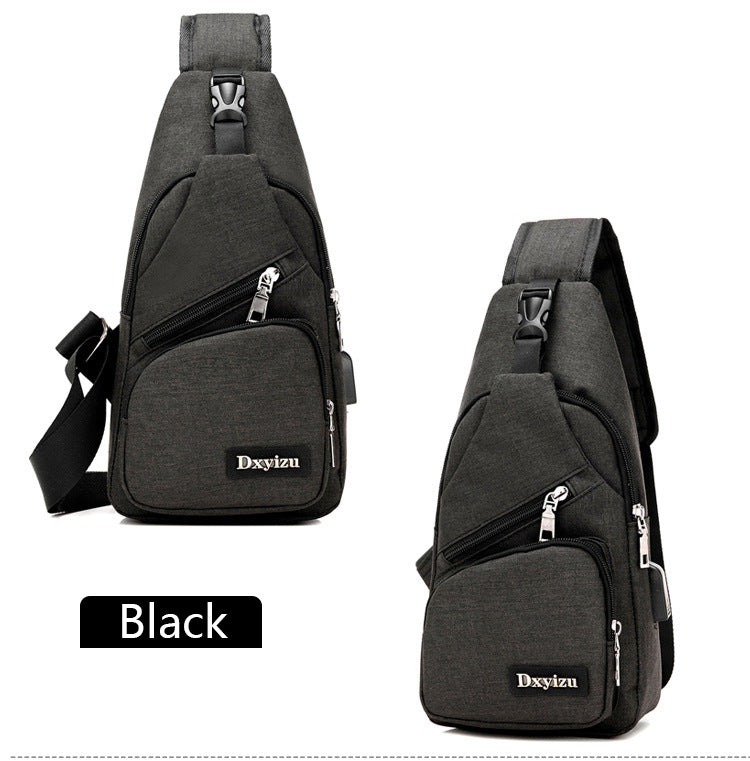 Men's New Canvas Chest Pack Usb Charge Strap Crossbody Bags