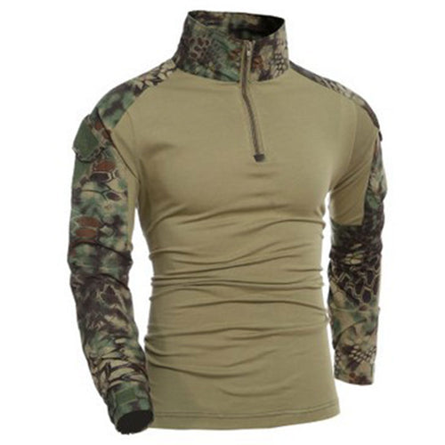 High-collar Fitness Long-sleeve Camouflage Men's Sweatshirts