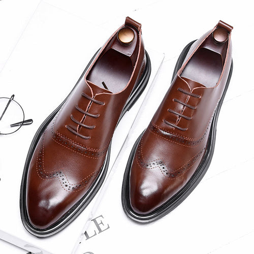 d7e8688a9f8a Leather Rubber Lace-Up Pointed Toe Men s Formal Shoes