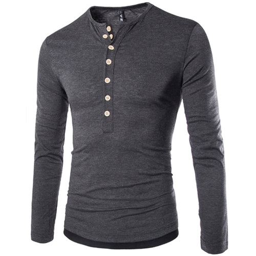Autumn and winter large size solid color T-shirt men's bottoming shirt