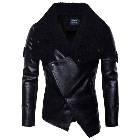 Lapel Polyester Pleated Button Casual Men's Leather Coat