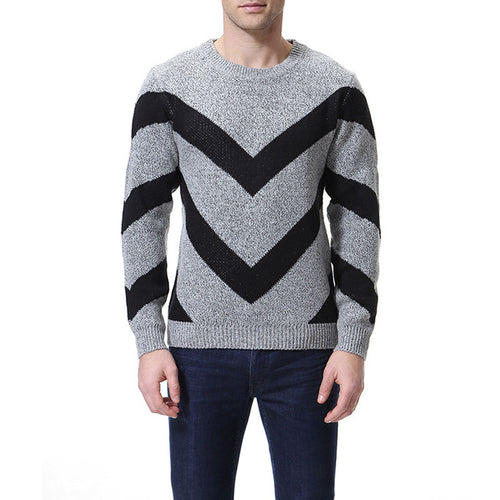 Round Neck Color Block Long Sleeve Men's Sweater