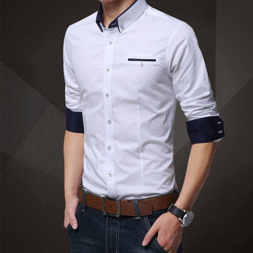 Casual work solid color men's shirt