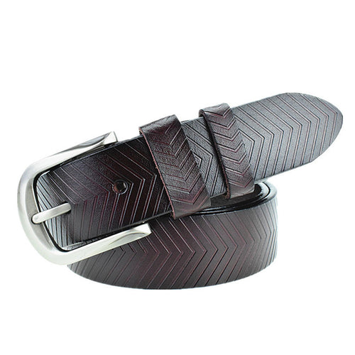 Leather Embossing Plain Men's Belts