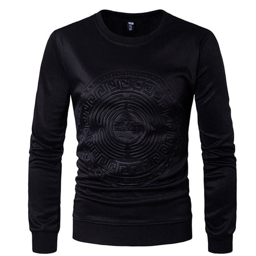 Pure Color Round Neck Long Sleeve Pullover Men's Sweatshirt