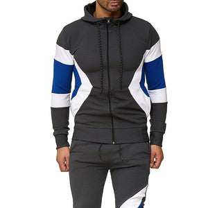 Stitching multi-color hooded sports suit