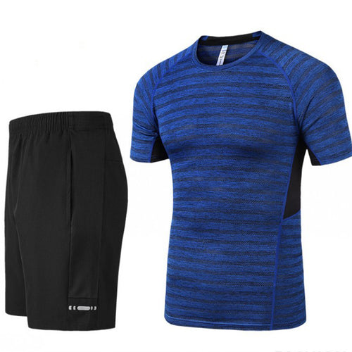 Summer Stripe Comfortable and Quick-drying Men's Sports Set