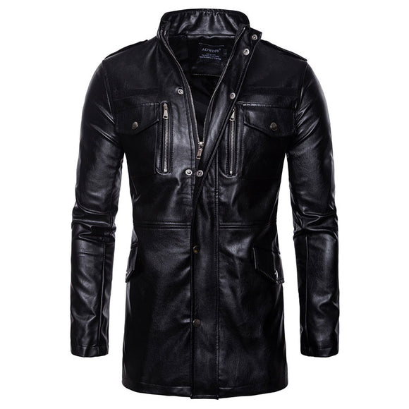 Stand Collar Zippered Tight Pure Color PU Men's Leather Coat