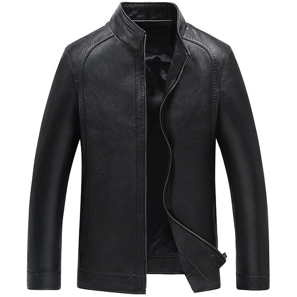 Tight Stand Collar Zippered Plain Casual Men's Leather Coat