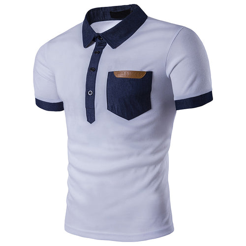 Jeans Stitching Pocket Lapel Men's T-shirt