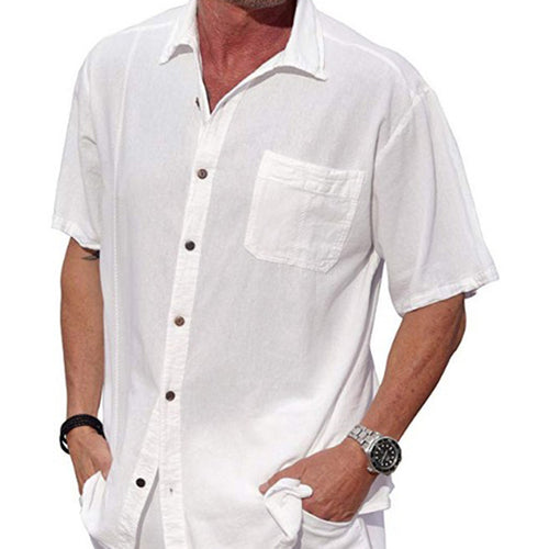 Pocket Short Sleeve Button Lapel Linen Men's Shirt