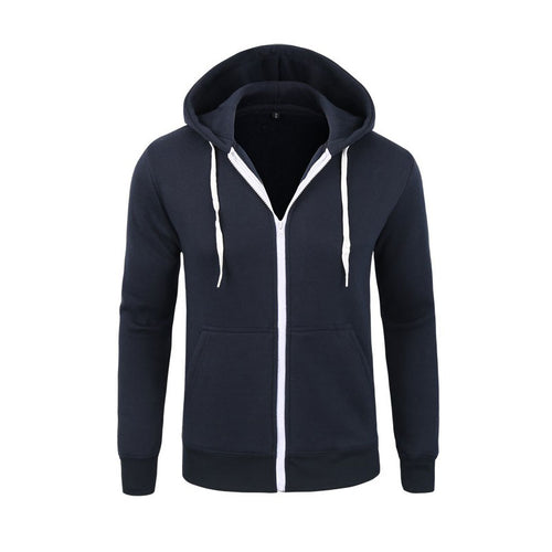 Men Zipper Hoodie Casual Jacket Coat