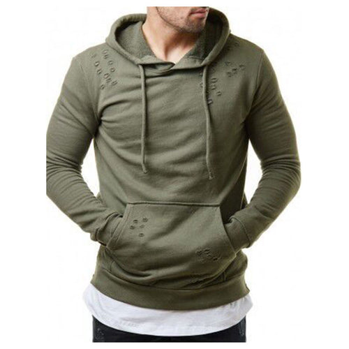 Solid Color Casual Hole Men's Side Zip Sweater