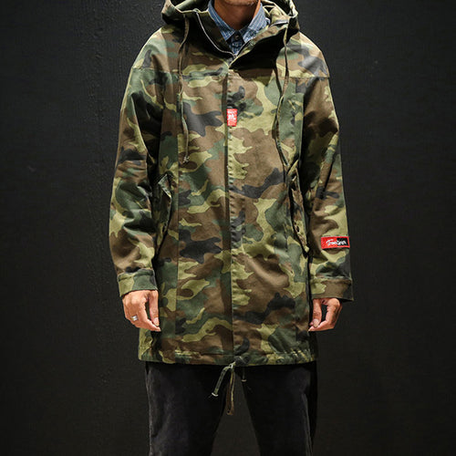 Hooded Camouflage Loose Sporty Zippered Men's Trench Coat