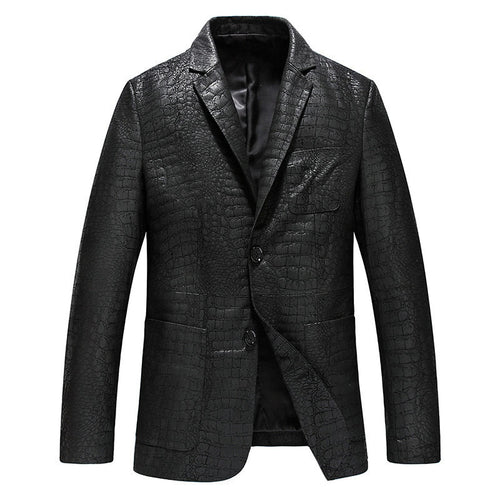 Lattice Pattern Turn-down Collar Casual Men's Leather Coat