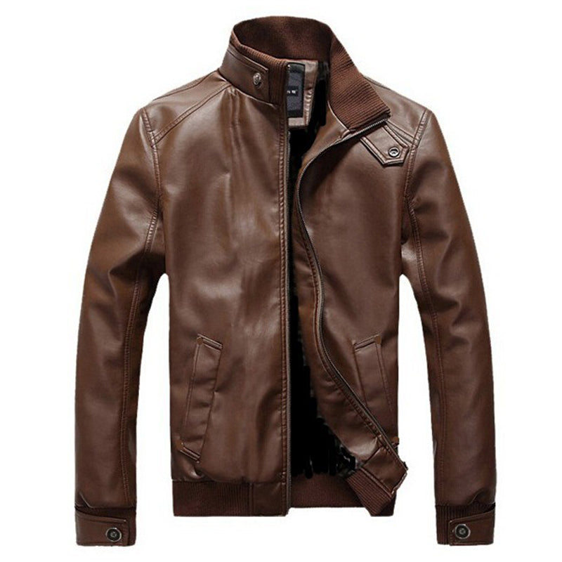 Slim-fit locomotive men's leather jacket