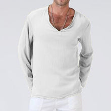 Load image into Gallery viewer, V-neck loose solid color long-sleeved T-shirt