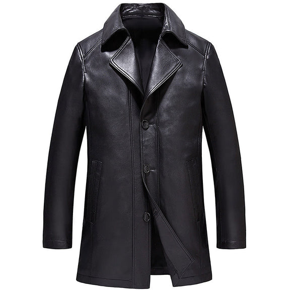Casual Loose Lapel Single-Breasted Pocket Men's Leather Coat