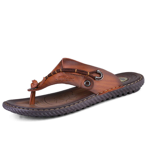 Luxury 2018 New Genuine Leather Men's Flip Flops