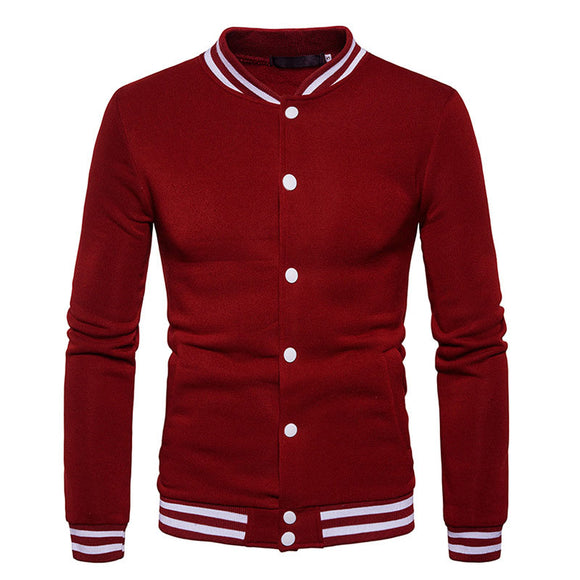 Stripe Color-blocked Stand Collar Cotton Blends Men's Hoodies