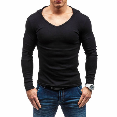 Pure-colour Casual Long-sleeved Cap Men's Sweatshirts