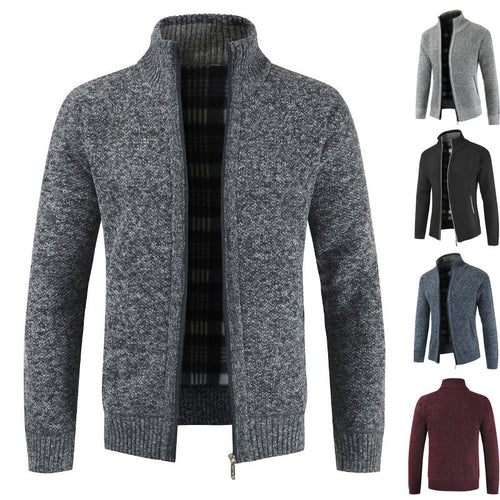 Winter New Men's Simple Cardigan Sweater Slim Men's V Neck Knit Shirt Jackets
