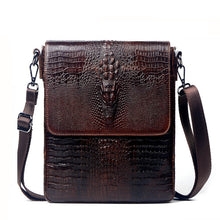 Load image into Gallery viewer, Men's Crocodile Leather Messenger Bag