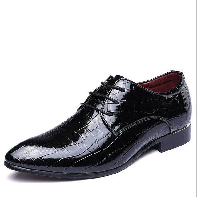 Shoes Pointed Toe Lace Up Print Pattern Leisure Trending Leather Men