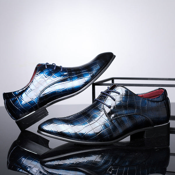 SHOES-Pointed Toe Lace Up Print Pattern Leisure Trending  Leather Men Dress Shoes