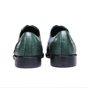 Genuine Cow Leather Crocodile Print Party Man Green Dress Shoe