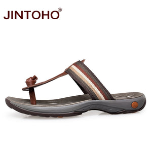 Slippers- Summer Big Size Luxury Genuine Leather Men Slippers