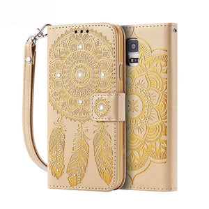Leather Diamond Stand Wallet Cover For Samsung